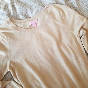 Lilly Pulitzer button down back sweater camel L
